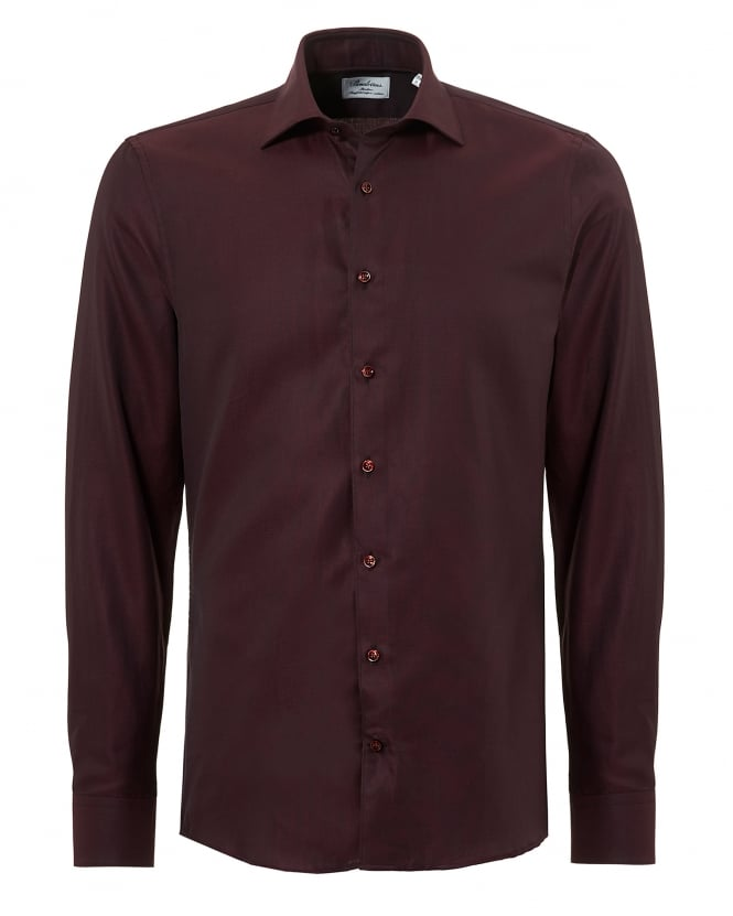 Stenströms Mens Pin Dot Slimline Long Sleeve Burgundy Shirt