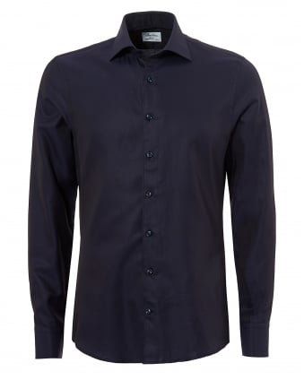 Mens Pin Dot Slimline Long Sleeve Navy Shirt