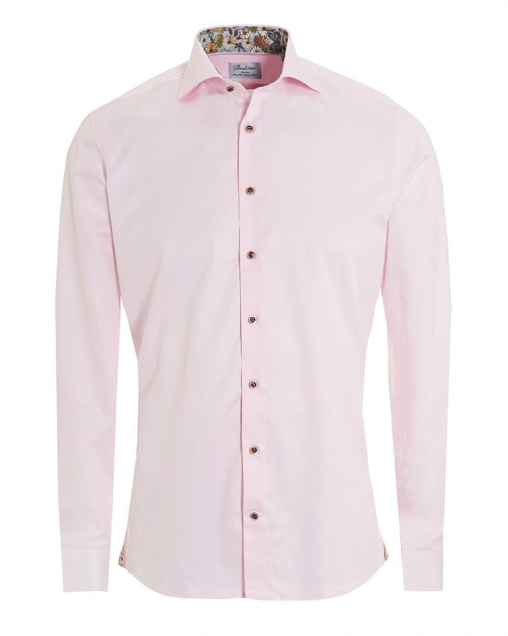 Stenströms Mens Plain Floral Inner Slimline Pink Shirt
