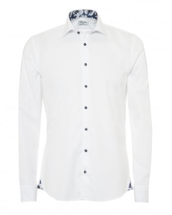 Mens Plain Oxford Shirt, Poppy Flower Trim Navy White Shirt