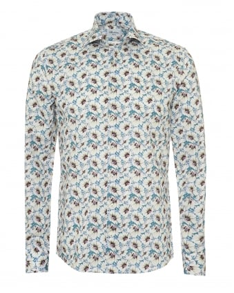 Mens Slimline Shirt, All Over Floral Print Soft Blue Shirt