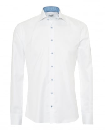 Mens Slimline Shirt, Blue Micro Geometric Print Trim White Shirt