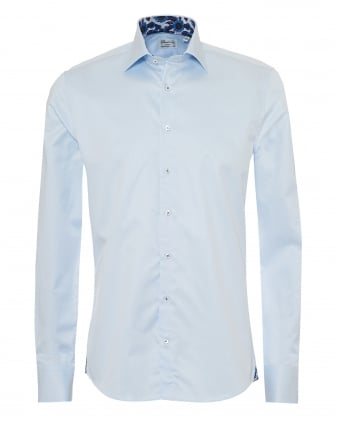 Mens Slimline Shirt, Floral Trim Blue Shirt