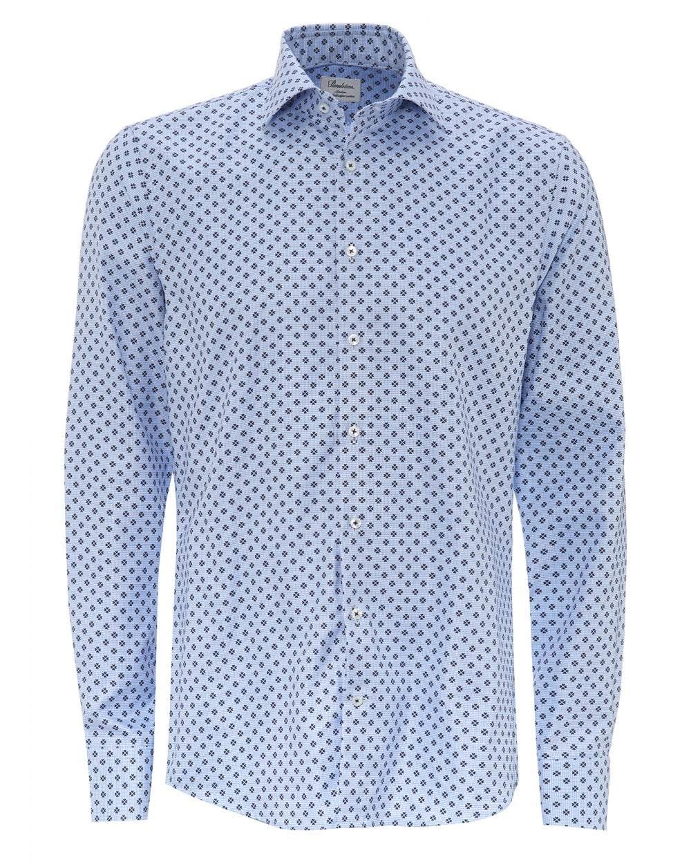 3f62064ad40 Stenströms Mens Fitted All-Over Floral Print Blue Shirt