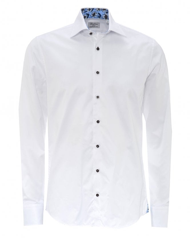 Stenstroms Mens Fitted Bold Floral Trim White Shirt