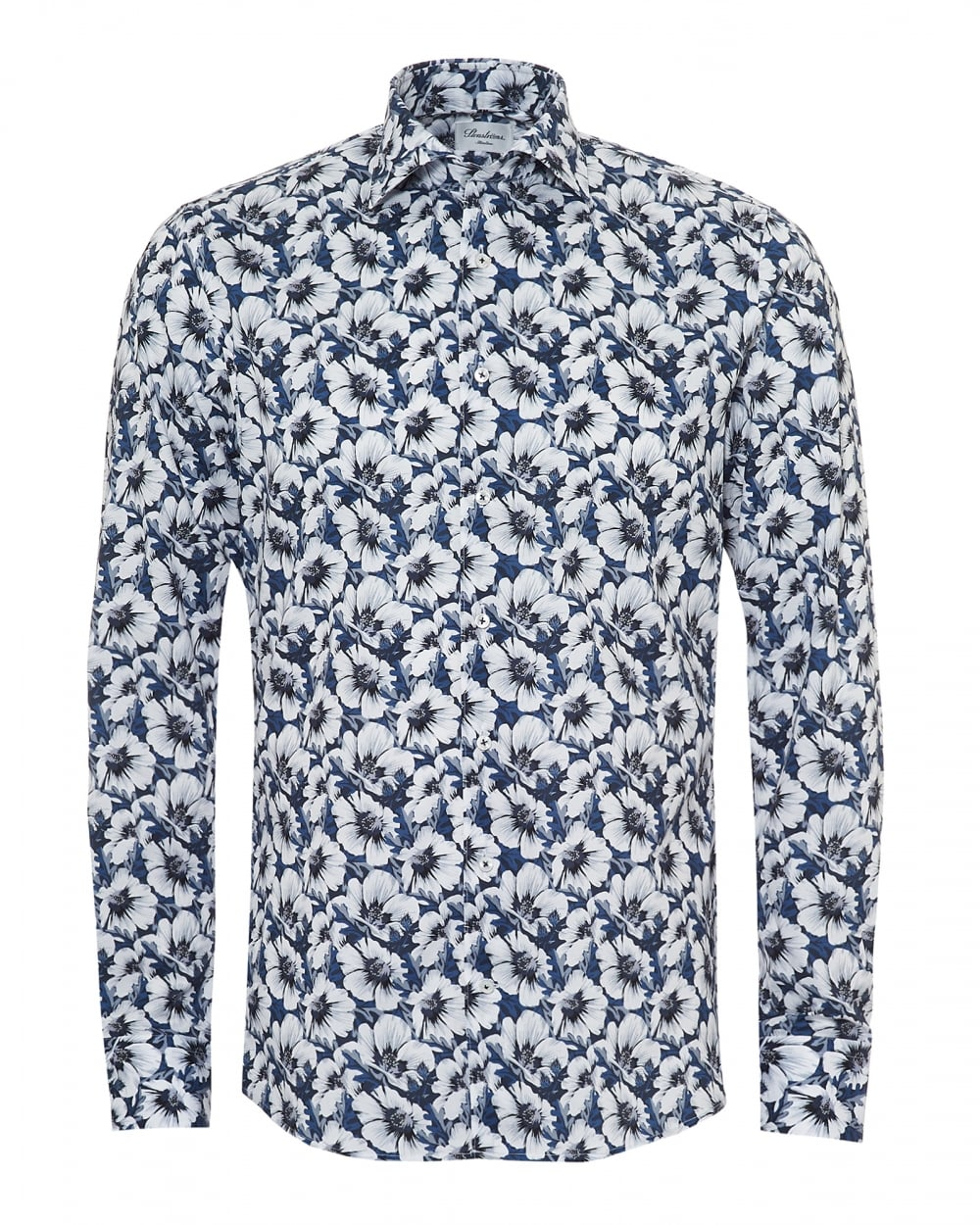 ef8aaf75996 Stenströms Mens Large Flower Print Slimline Navy Blue White Shirt