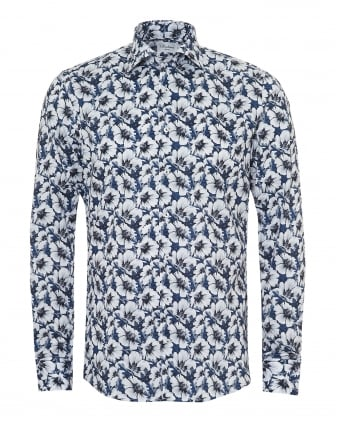 Mens Large Flower Print Slimline Navy Blue White Shirt