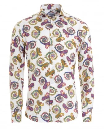 Mens Large Paisley Print Slimline White Shirt