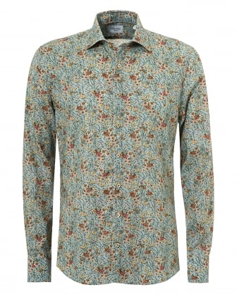 Mens Liberty Floral Print Slimline Mint Green Shirt