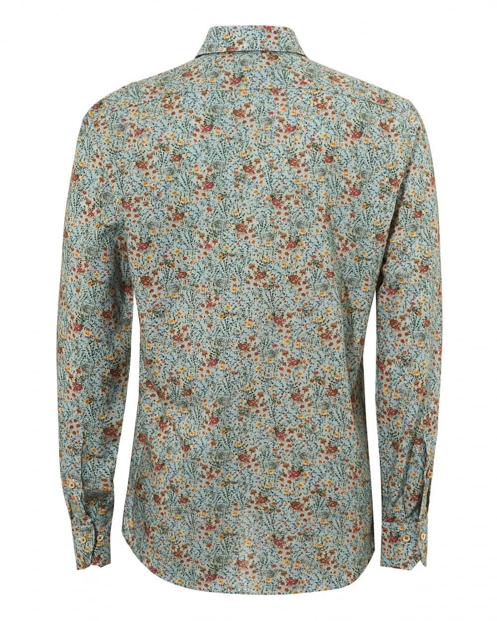 8523414f693 Stenströms Mens Liberty Floral Print Slimline Mint Green Shirt