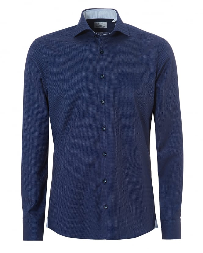 Stenstroms Mens Micro Dot Two Fold Super Cotton Navy Shirt