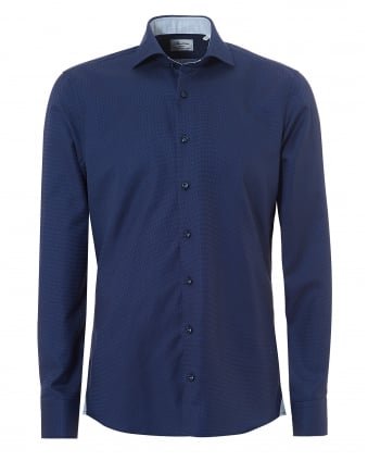 Mens Micro Dot Two Fold Super Cotton Navy Shirt