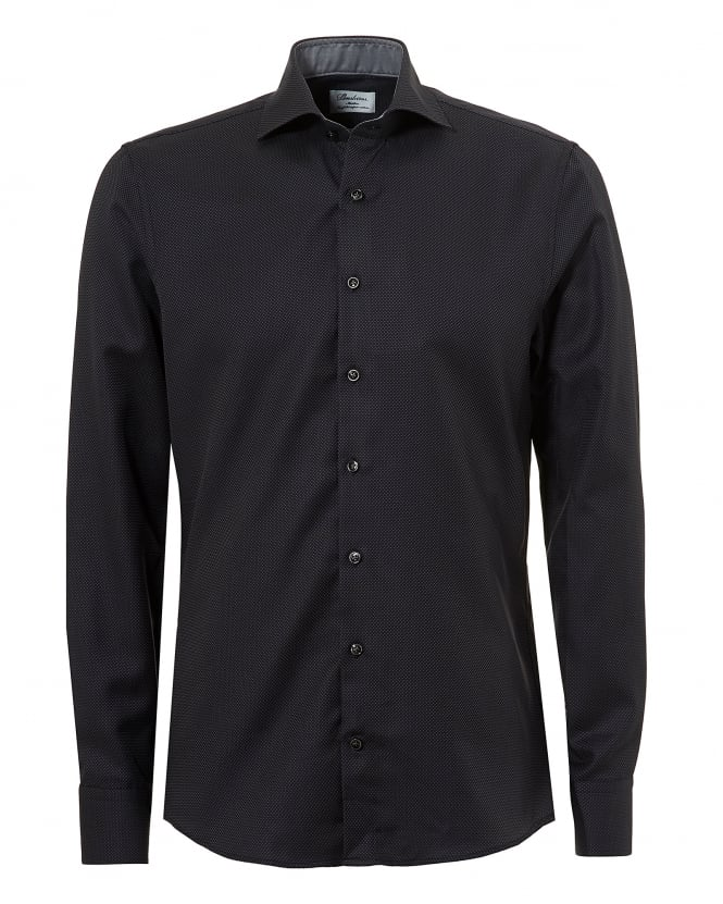 Stenstroms Mens Micro Dot Two Fold Super Cotton Slimline Black Shirt