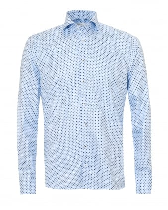 Mens Micro Flower Mini Dogstooth Slimline Blue Shirt