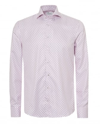 Mens Micro Flower Mini Dogstooth Slimline Pink Shirt
