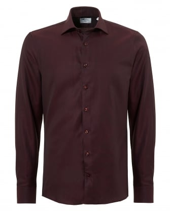 Mens Pin Dot Slimline Long Sleeve Burgundy Shirt