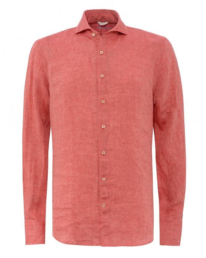 Stenstroms Mens Red Slimline Fitted Linen Shirt