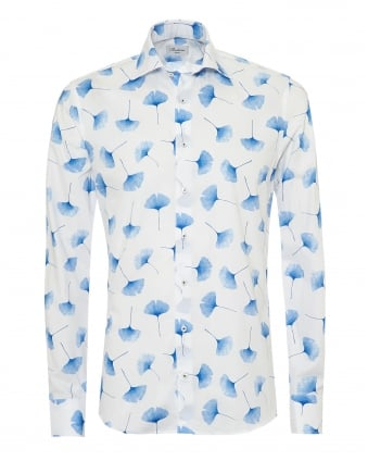 Mens Slimline Shirt, All Over Leaf Print White Blue Shirt