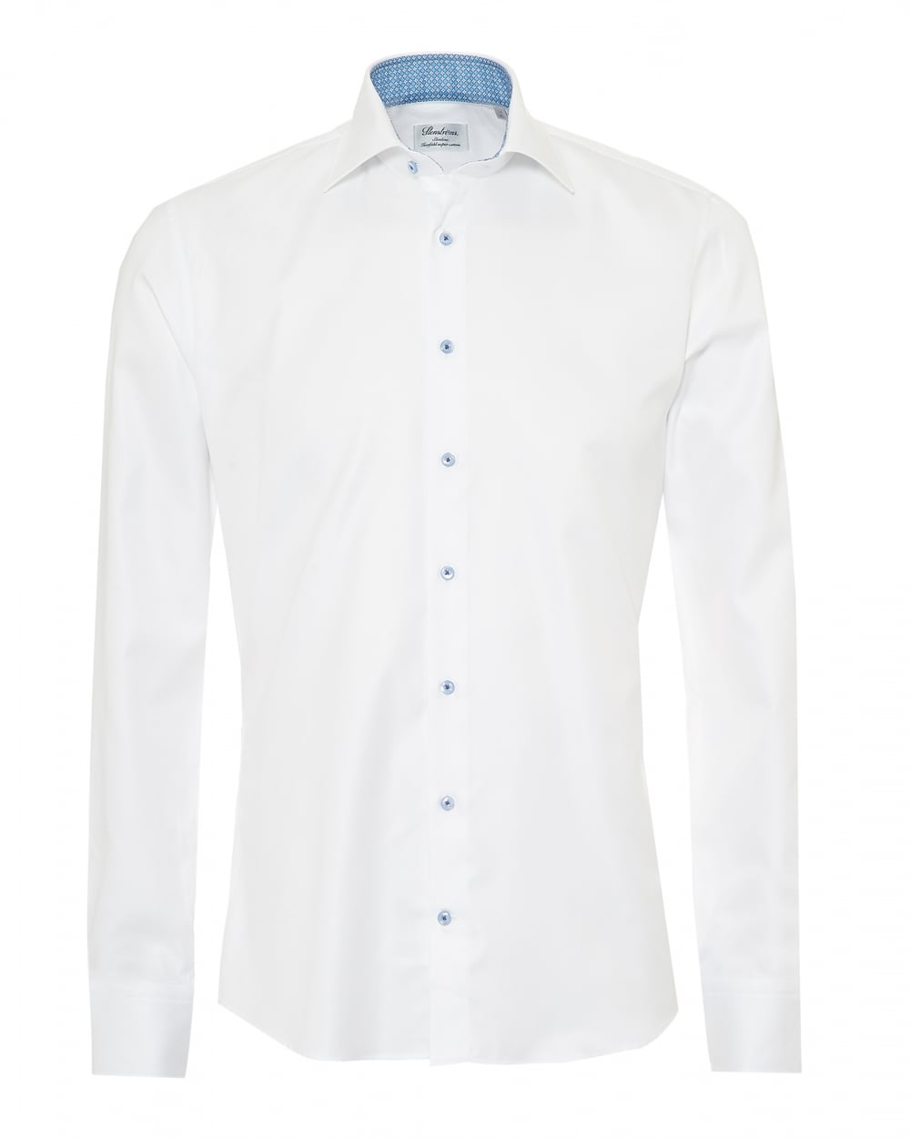6a73cb38a24404 Stenströms Mens Slimline Shirt, Blue Geometric Print Trim White Shirt