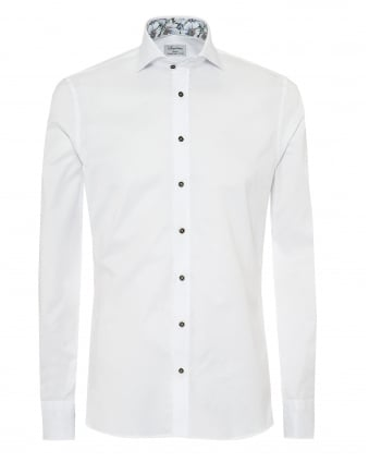 Mens Slimline Shirt, Floral Trim White Green Shirt