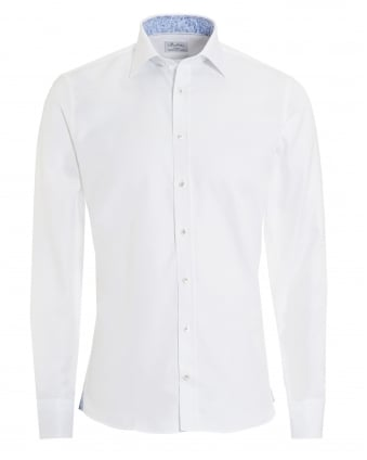 Mens Subtle Floral Pattern Slimline White Shirt
