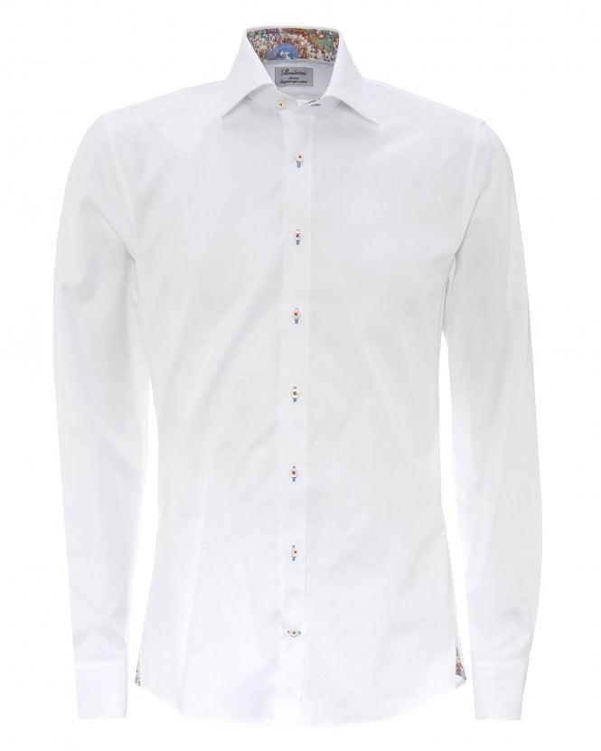 Stenstroms Mens White Paisley Fitted Shirt