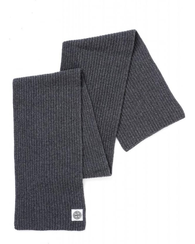 Stone Island Charcoal Grey Ribbed Wool Knit Scarf