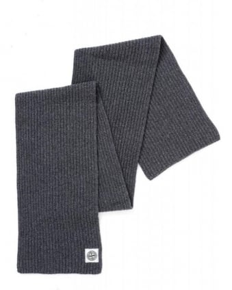 Charcoal Grey Ribbed Wool Knit Scarf