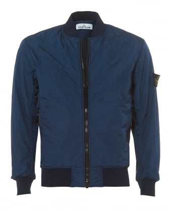 Mens Avio Blue Crinkle Shell Bomber Jacket