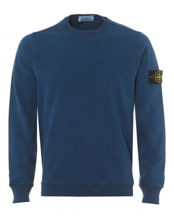 Mens Avio Blue Garment Dyed Compass Logo Sweatshirt
