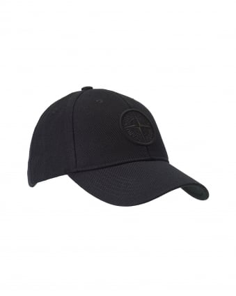 Mens Black Embossed Logo Adjustable Baseball Cap