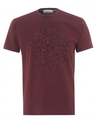 Mens Bordeaux T-Shirt, Regular Fit Compass Rust Pin Logo Tee