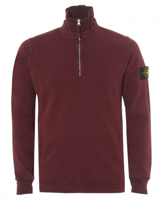 Mens Burgundy Red Garment Dyed 1/4 Zip Sweatshirt
