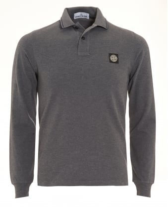 Mens Charcoal Grey Tipped Long Sleeve Polo Shirt