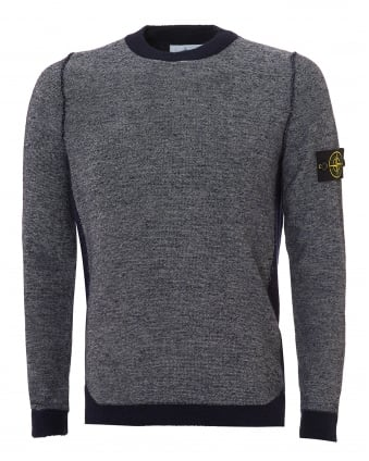 Mens Colour Block Jumper, Wool Blend Navy Blue Sweater