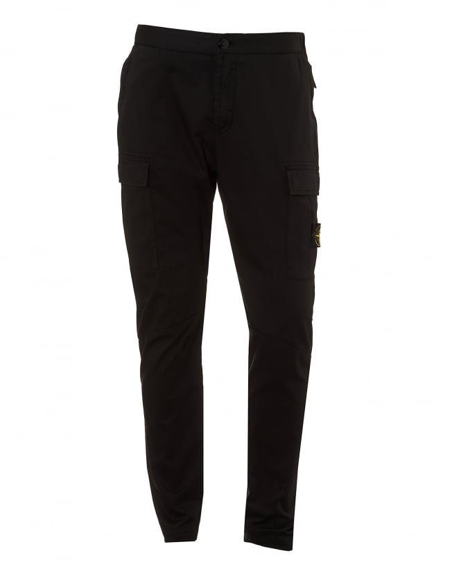 Stone Island Mens Combat Pants, Articulated Black Trousers