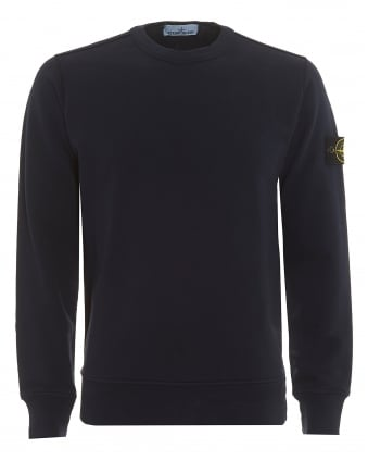 Mens Crew Neck Sweatshirt, Garment Dyed Blue Marine Jumper