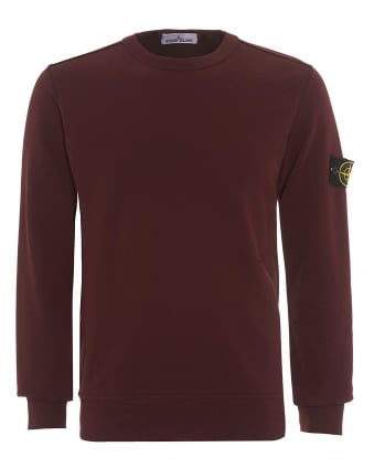 Mens Crew Neck Sweatshirt, Garment Dyed Bordeaux Jumper