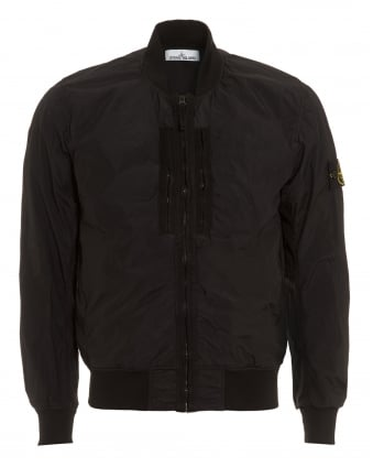 Mens Crinkle Reps NY Bomber, Black Compass Logo Badge Jacket
