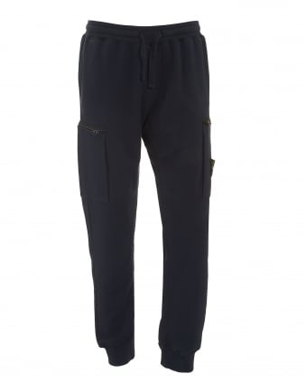 Mens Cuffed Trackpants, Cotton Fleece Navy Blue Sweatpants