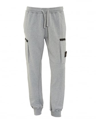 Mens Cuffed Trackpants, Cotton Fleece Polvere Grey Sweatpants