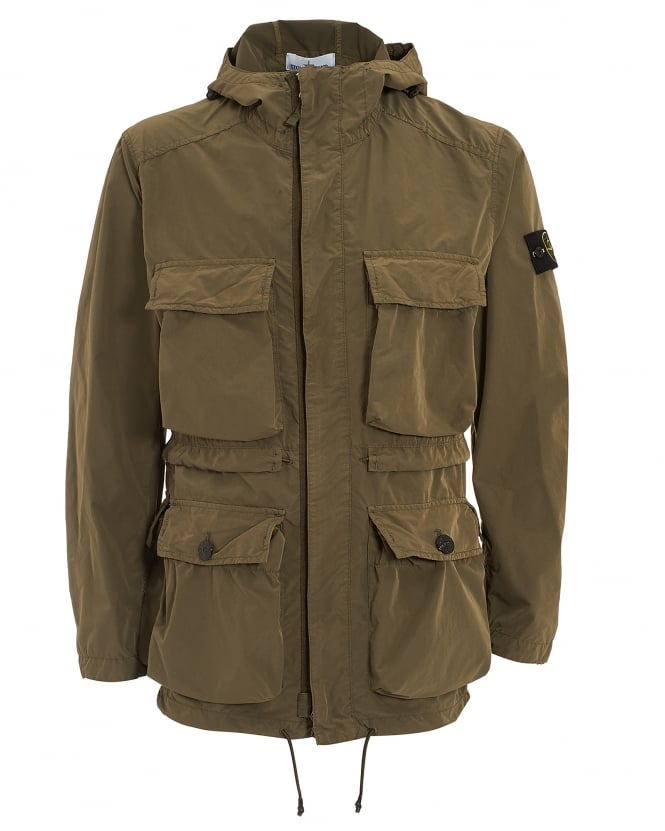 stone island mens david tela light tc khaki parka jacket. Black Bedroom Furniture Sets. Home Design Ideas