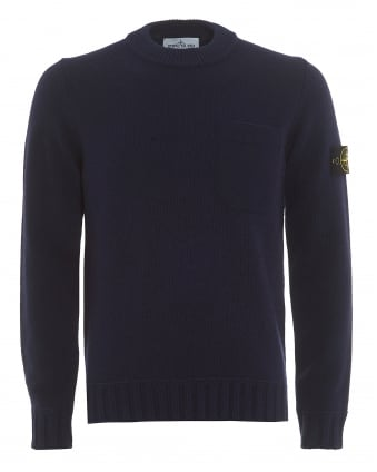 Mens Felt Chest Pocket Jumper, Blue Marine Sweater