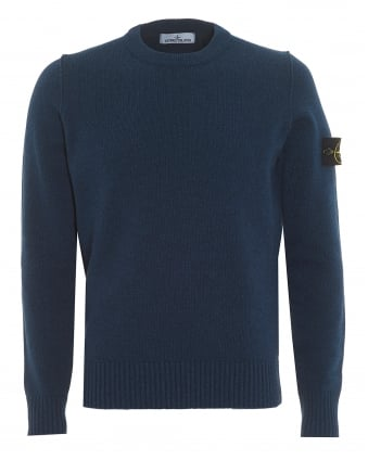 Mens Felt Trim Jumper, Avio Blue Sweater