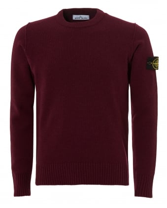 Mens Felt Trim Jumper, Bordeaux Sweater