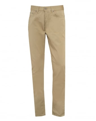 Mens Garment Dyed Brushed Cotton Beige Jeans