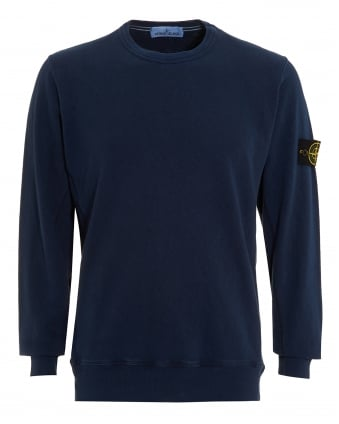 Mens Garment Dyed Jumper, Blue Marine Washed Jumper