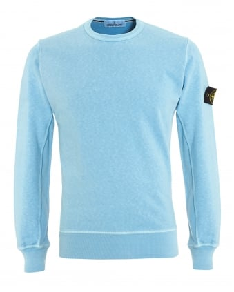 Mens Garment Dyed Jumper, Cielo Sky Blue Washed Jumper