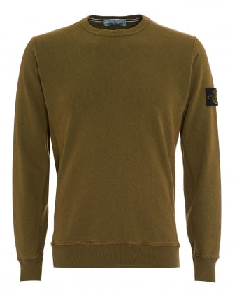 Mens Garment Dyed Jumper, Military Green Washed Jumper