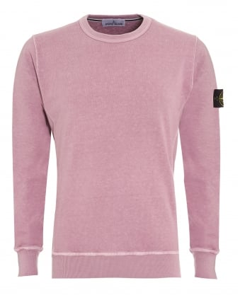 Mens Garment Dyed Jumper, Rosa Quarzo Washed Jumper